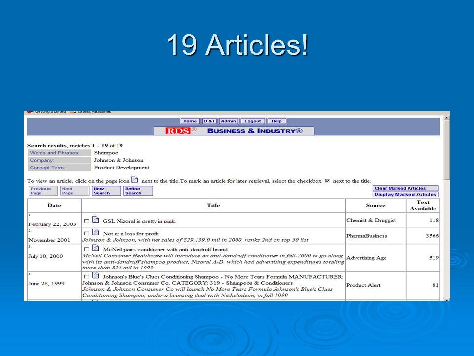 19 Articles!