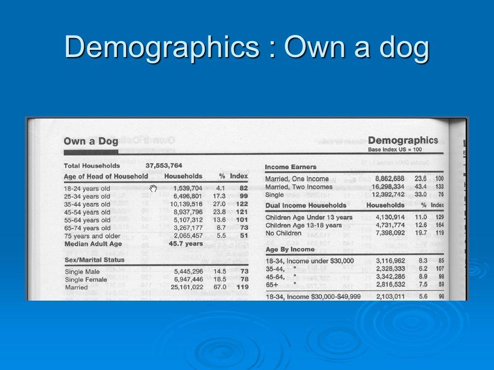 Demographics : Own a dog