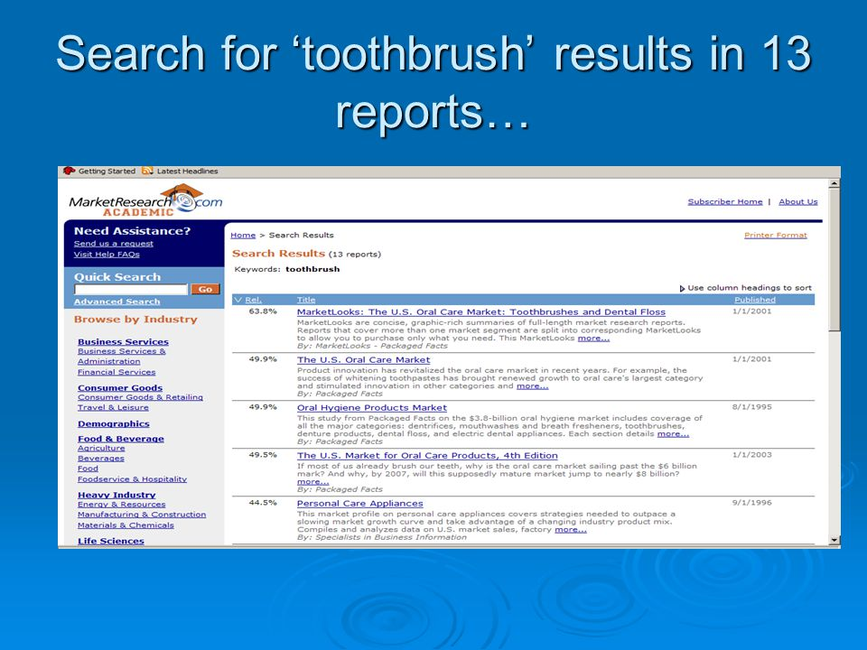 Search for toothbrush results in 13 reports…