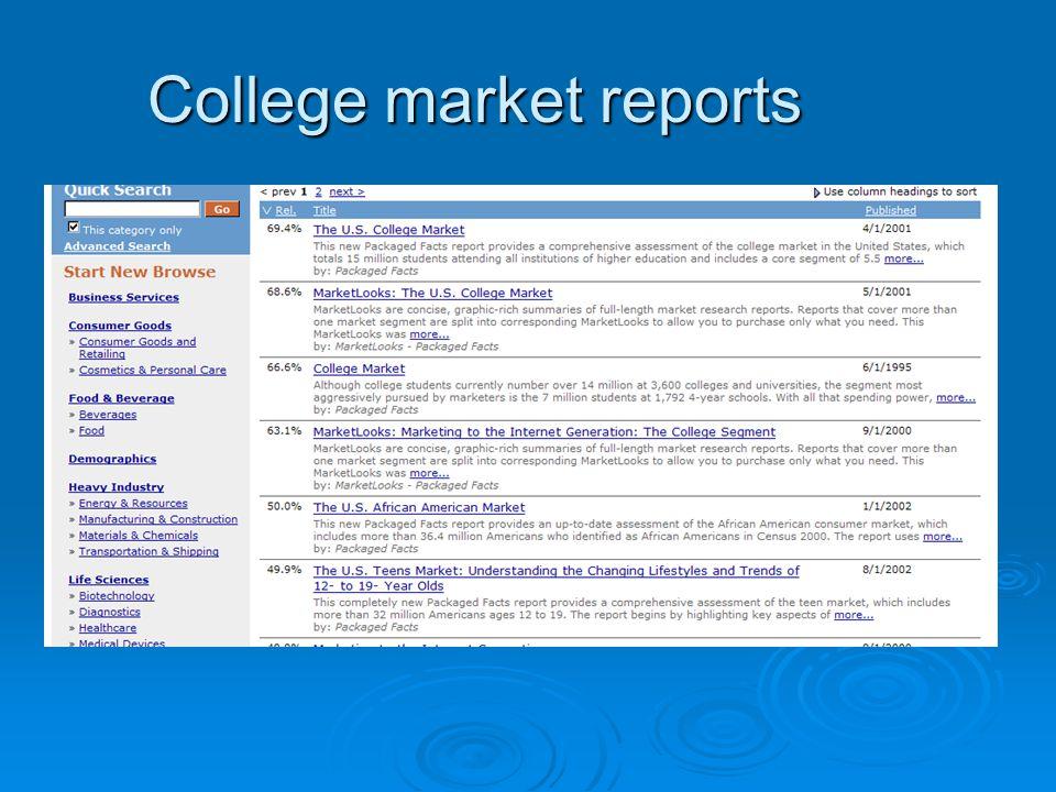 College market reports