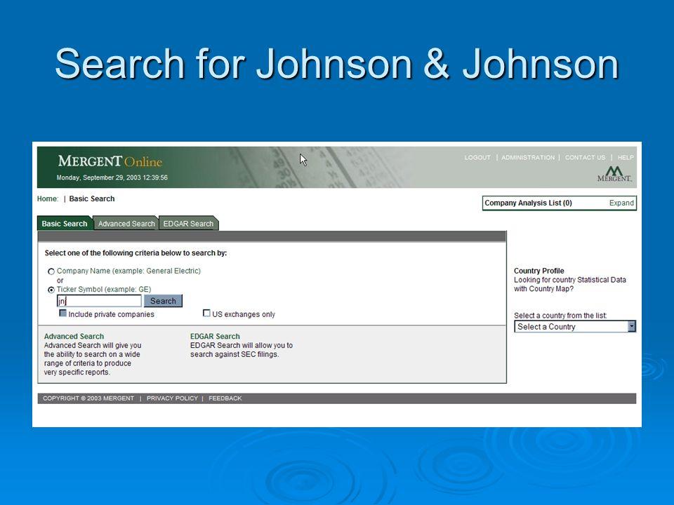 Search for Johnson & Johnson