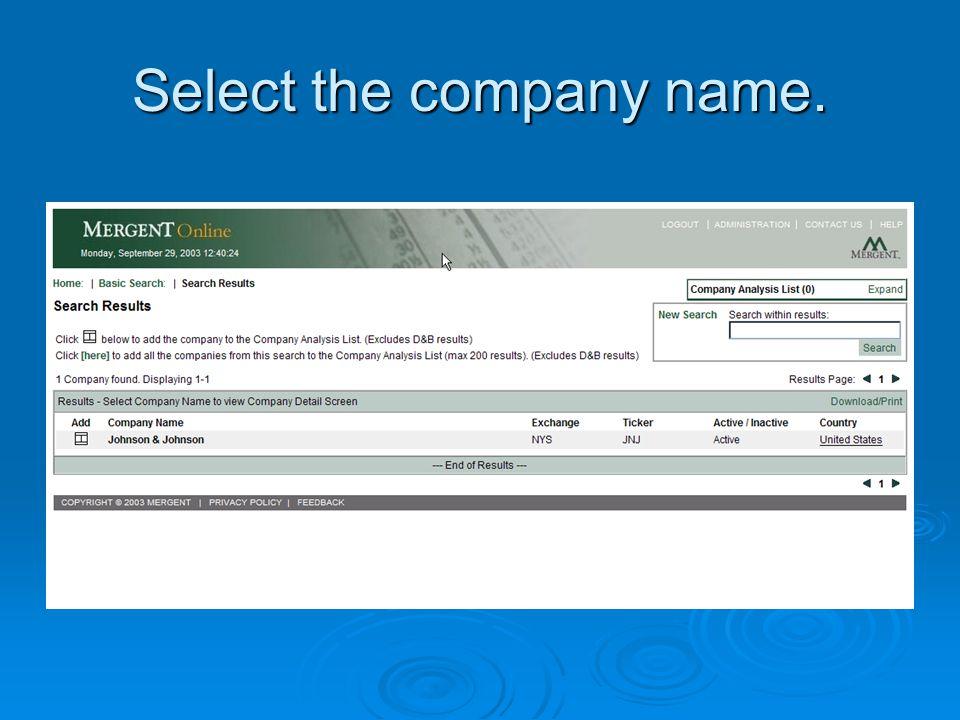 Select the company name.
