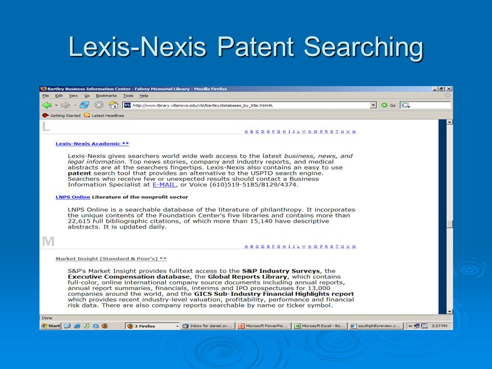 Lexis-Nexis Patent Searching