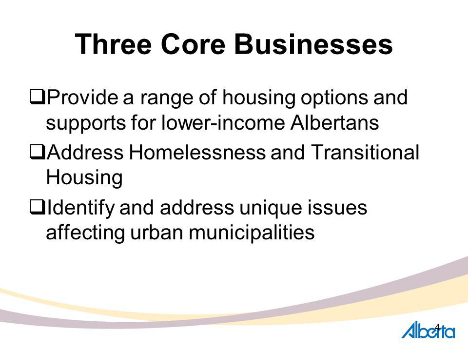 55 Core Business One Affordable Housing 11,000 affordable housing units by 2012 status: 3,400 units supported in 2007/2008 Block funding to municipalities Request for Proposal Subsidized rental programs delivered by management bodies Subsidies for renters in private market