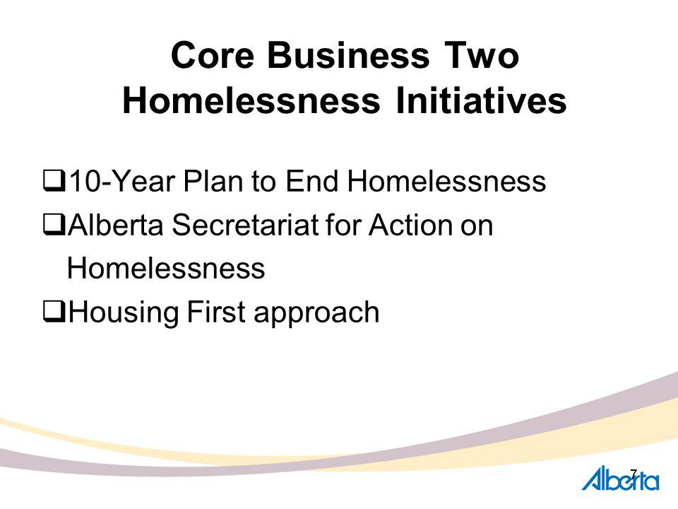 77 Core Business Two Homelessness Initiatives 10-Year Plan to End Homelessness Alberta Secretariat for Action on Homelessness Housing First approach