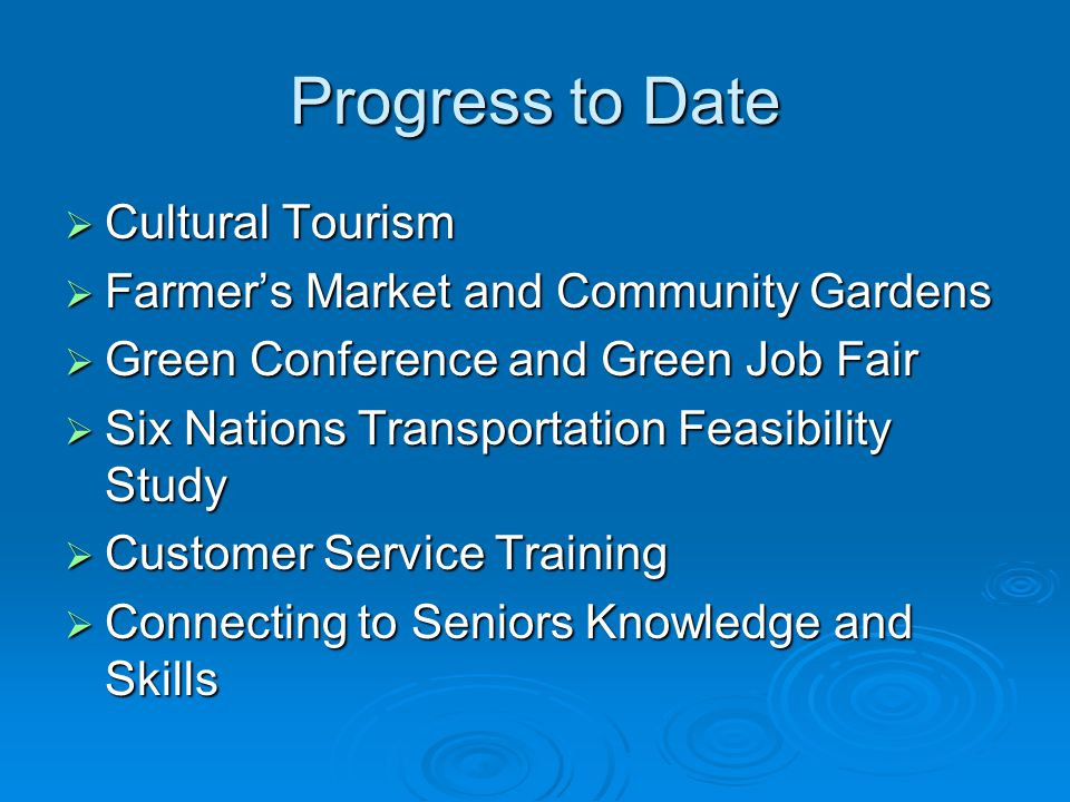 Progress to Date Cultural Tourism Cultural Tourism Farmers Market and Community Gardens Farmers Market and Community Gardens Green Conference and Green Job Fair Green Conference and Green Job Fair Six Nations Transportation Feasibility Study Six Nations Transportation Feasibility Study Customer Service Training Customer Service Training Connecting to Seniors Knowledge and Skills Connecting to Seniors Knowledge and Skills