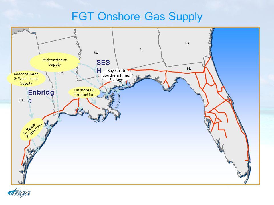 FGT Onshore Gas Supply TX LA MS AL GA FL Midcontinent Supply Onshore LA Production S. Texas Production SES H Enbridg e Bay Gas & Southern Pines Storag