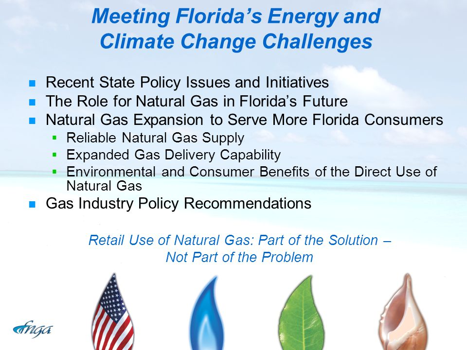 Meeting Floridas Energy and Climate Change Challenges Recent State Policy Issues and Initiatives The Role for Natural Gas in Floridas Future Natural G
