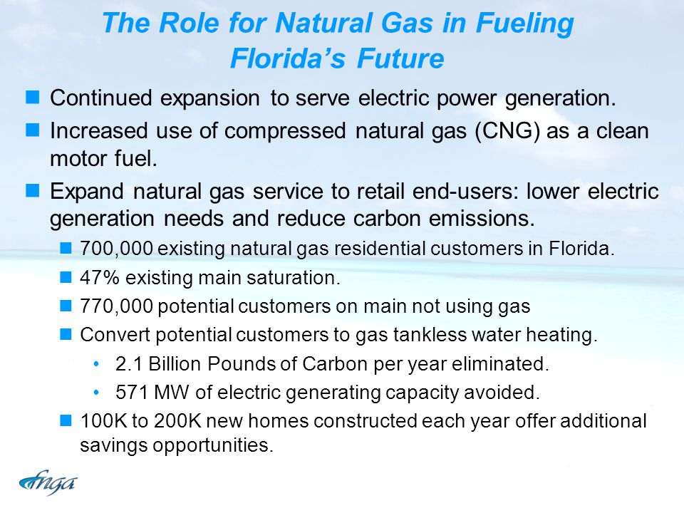 The Role for Natural Gas in Fueling Floridas Future Continued expansion to serve electric power generation. Increased use of compressed natural gas (C