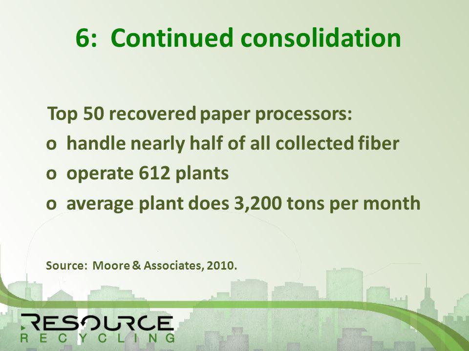 6: Continued consolidation Top 50 recovered paper processors: o handle nearly half of all collected fiber o operate 612 plants o average plant does 3,200 tons per month Source: Moore & Associates, 2010.