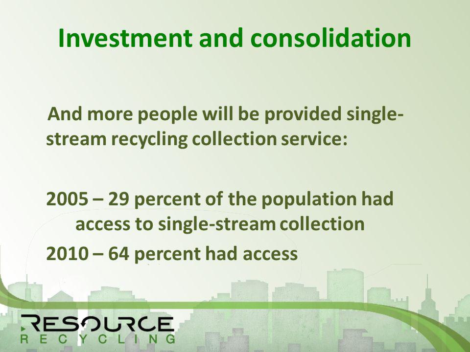 Investment and consolidation And more people will be provided single- stream recycling collection service: 2005 – 29 percent of the population had access to single-stream collection 2010 – 64 percent had access