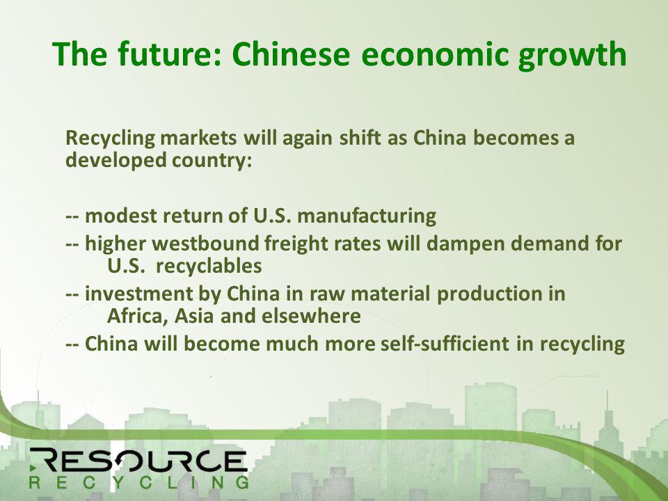The future: Chinese economic growth Recycling markets will again shift as China becomes a developed country: -- modest return of U.S.