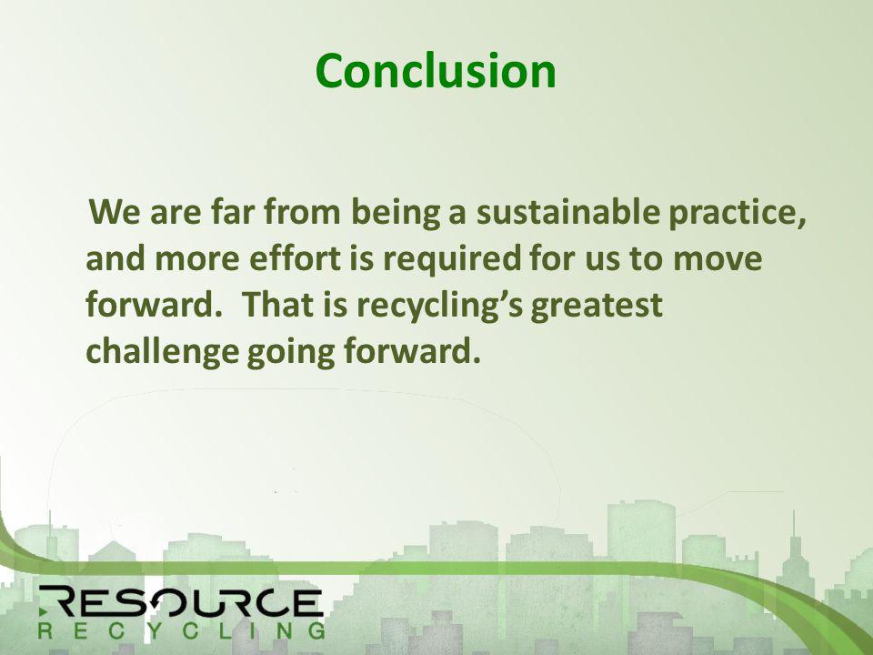 Conclusion We are far from being a sustainable practice, and more effort is required for us to move forward.