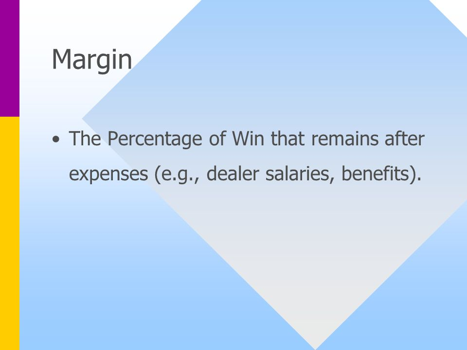 Margin The Percentage of Win that remains after expenses (e.g., dealer salaries, benefits).