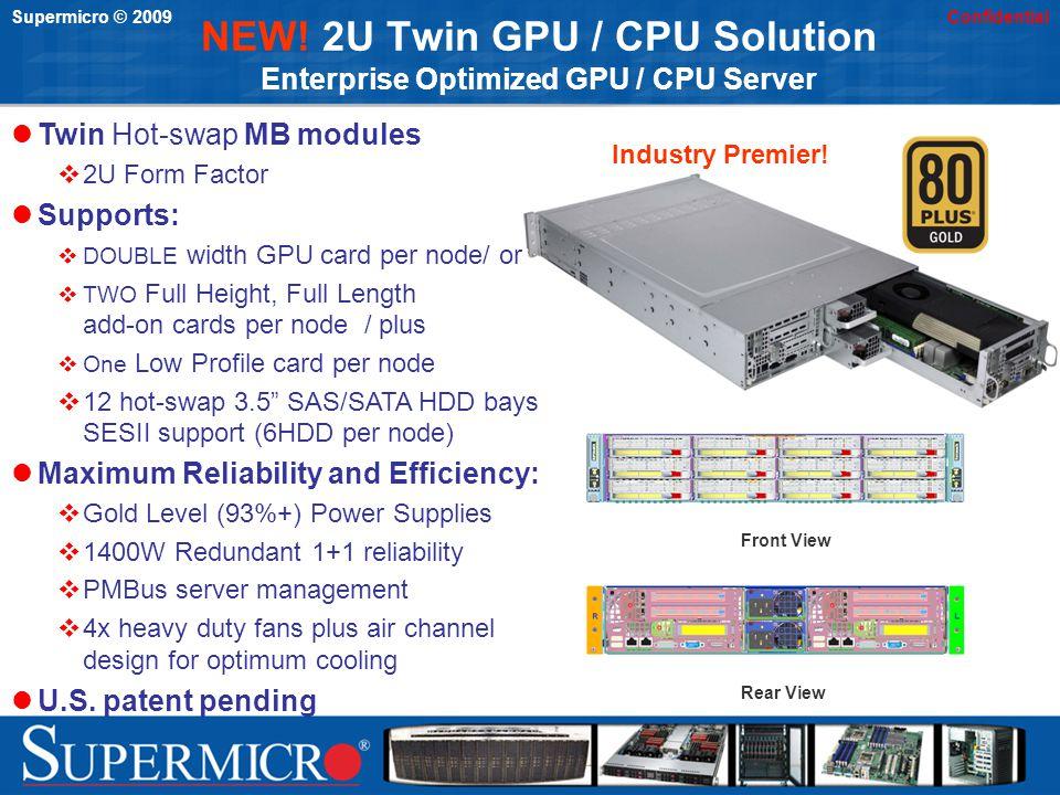 Supermicro © 2009Confidential NEW! 2U Twin GPU / CPU Solution Enterprise Optimized GPU / CPU Server Front View Rear View Twin Hot-swap MB modules 2U F