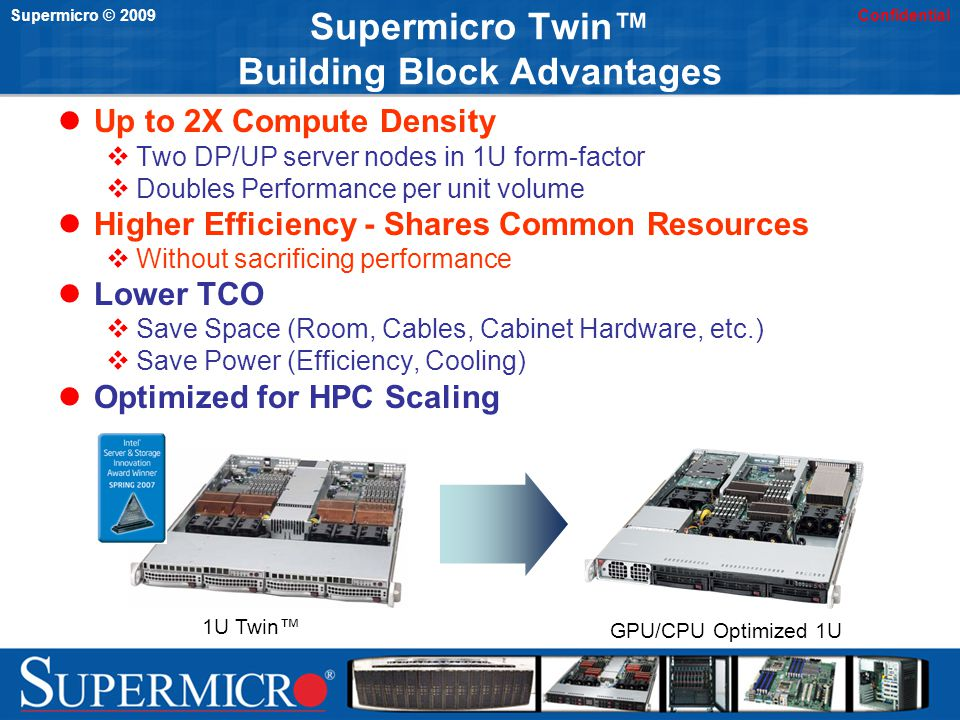 Supermicro © 2009Confidential Supermicro Twin Building Block Advantages Up to 2X Compute Density Two DP/UP server nodes in 1U form-factor Doubles Perf