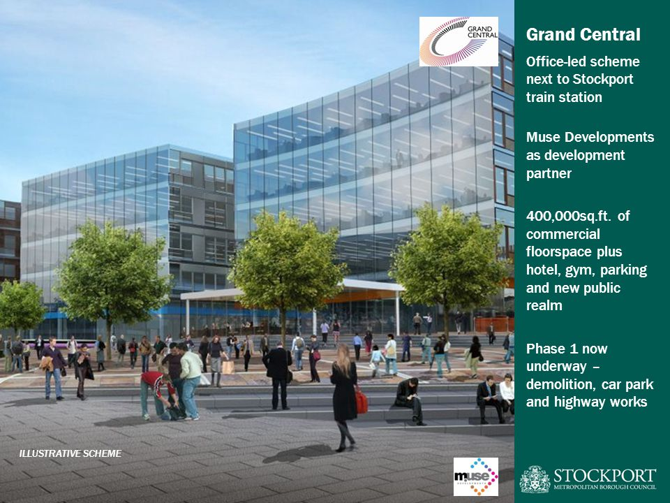 Grand Central Office-led scheme next to Stockport train station Muse Developments as development partner 400,000sq.ft.