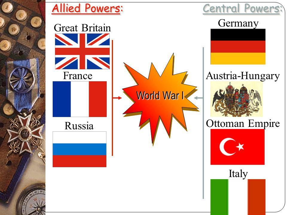 World War I Allied Powers: Central Powers: Great Britain France Russia Italy Germany Austria-Hungary Ottoman Empire