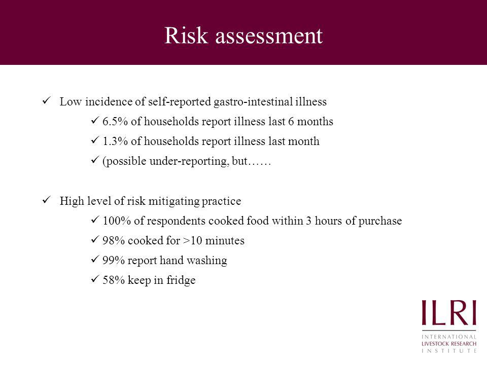 Risk assessment Low incidence of self-reported gastro-intestinal illness 6.5% of households report illness last 6 months 1.3% of households report ill