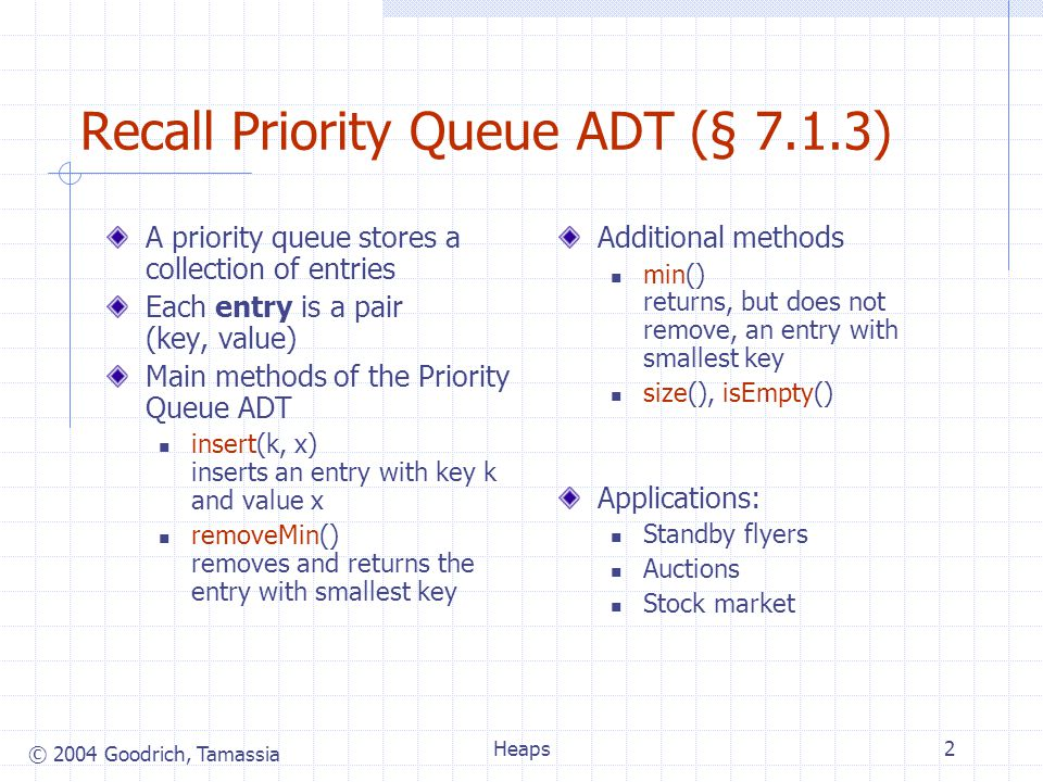 © 2004 Goodrich, Tamassia Heaps2 Recall Priority Queue ADT (§ 7.1.3) A priority queue stores a collection of entries Each entry is a pair (key, value) Main methods of the Priority Queue ADT insert(k, x) inserts an entry with key k and value x removeMin() removes and returns the entry with smallest key Additional methods min() returns, but does not remove, an entry with smallest key size(), isEmpty() Applications: Standby flyers Auctions Stock market
