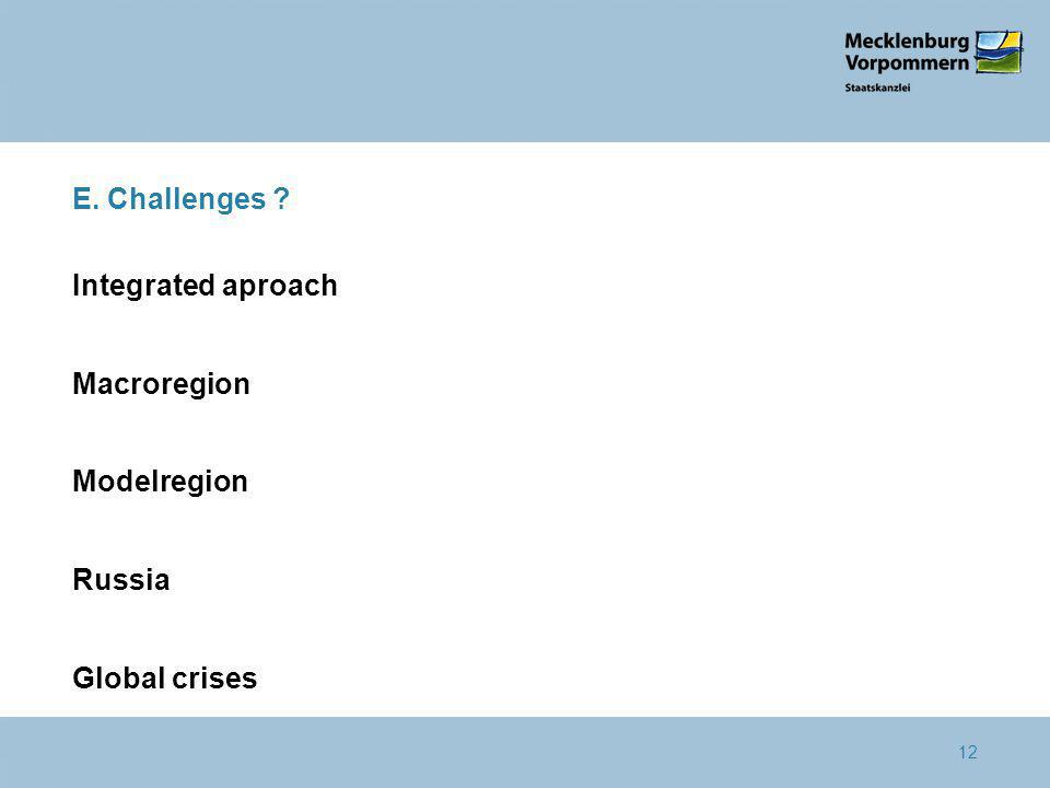 12 E. Challenges Integrated aproach Macroregion Modelregion Russia Global crises