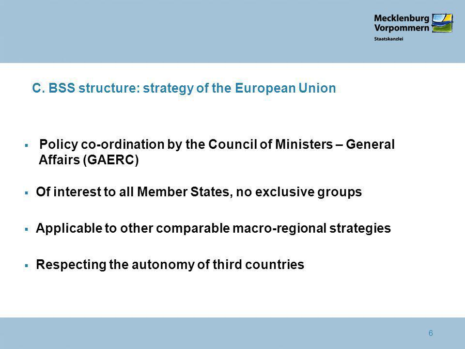 6 C. BSS structure: strategy of the European Union Policy co-ordination by the Council of Ministers – General Affairs (GAERC) Of interest to all Membe