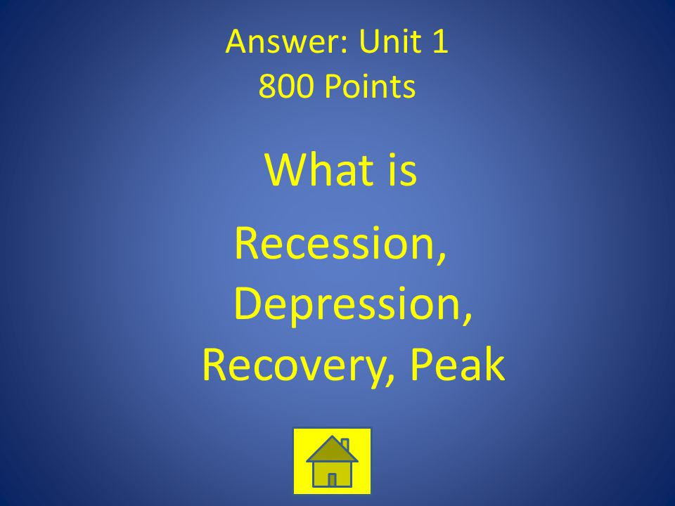 Answer: Unit 1 800 Points What is Recession, Depression, Recovery, Peak