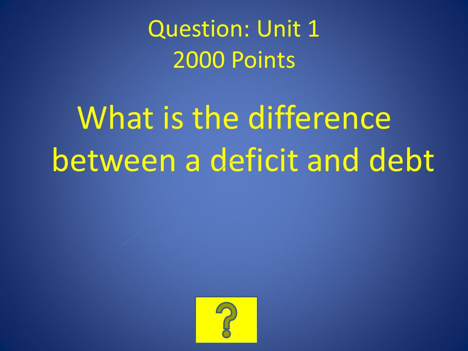 Question: Unit 1 2000 Points What is the difference between a deficit and debt