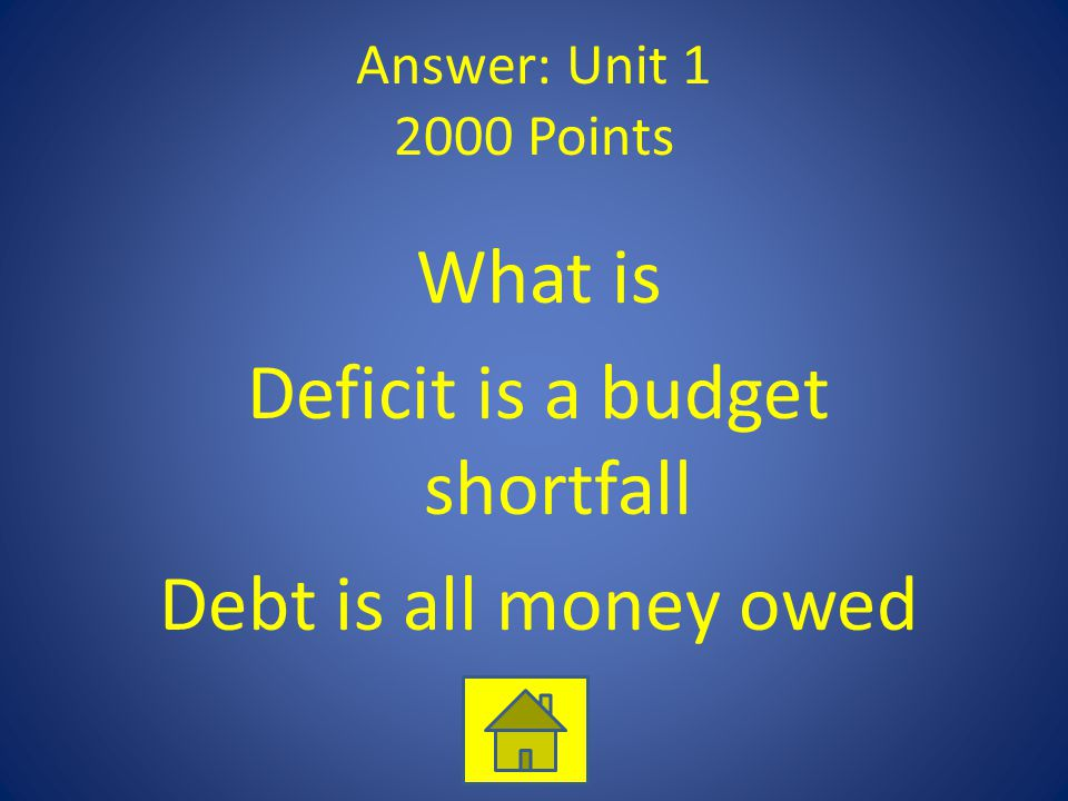 Answer: Unit 1 2000 Points What is Deficit is a budget shortfall Debt is all money owed