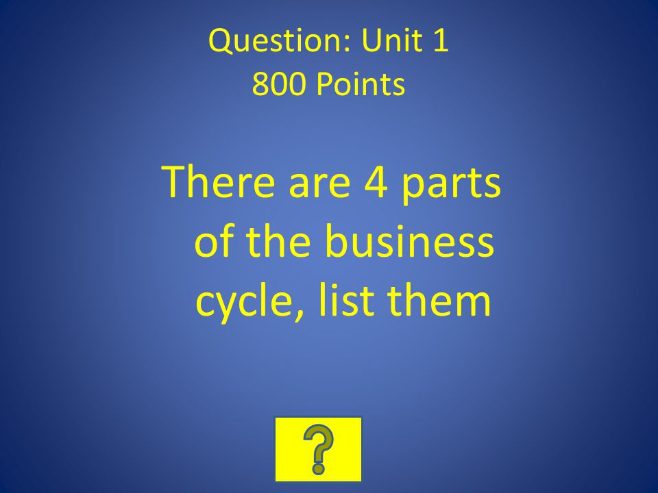 Question: Unit 1 800 Points There are 4 parts of the business cycle, list them