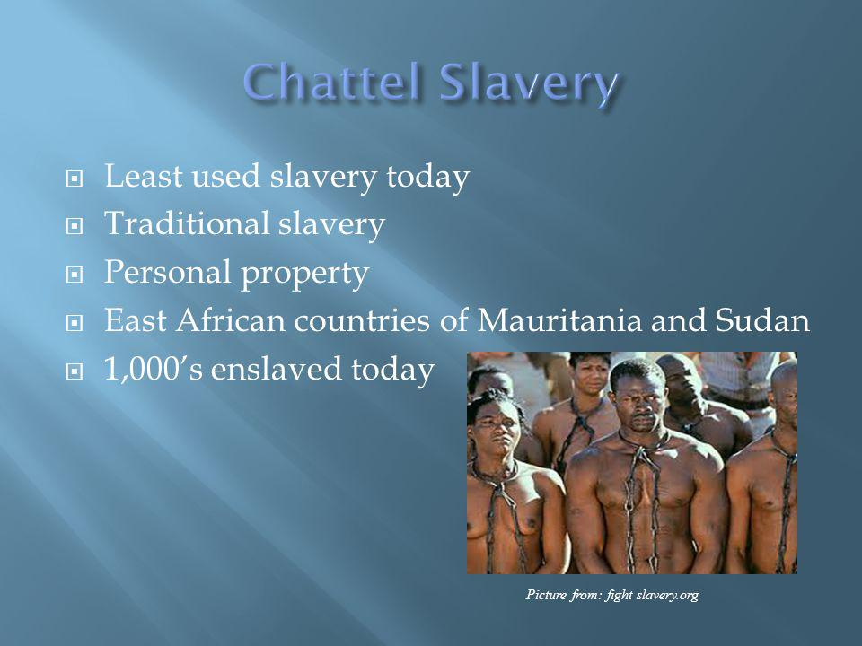 Least used slavery today Traditional slavery Personal property East African countries of Mauritania and Sudan 1,000s enslaved today Picture from: fight slavery.org