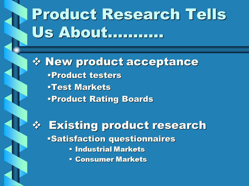Product Research Tells Us About………..