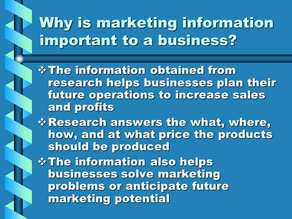 Why is marketing information important to a business.