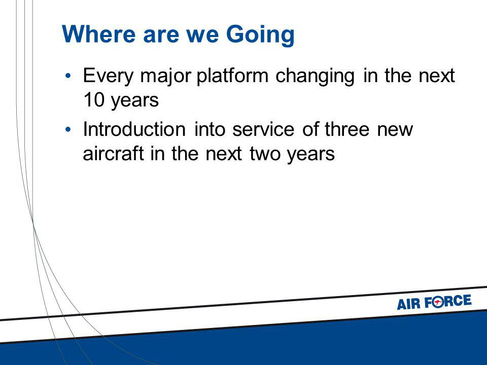 Where are we Going Every major platform changing in the next 10 years Introduction into service of three new aircraft in the next two years