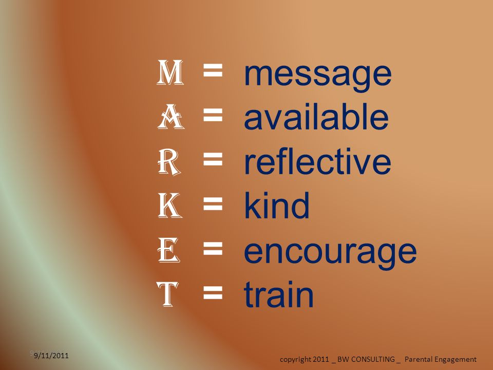 copyright 2011 _ BW CONSULTING _ Parental Engagement 9/11/2011 MARKETMARKET message available reflective kind encourage train =============
