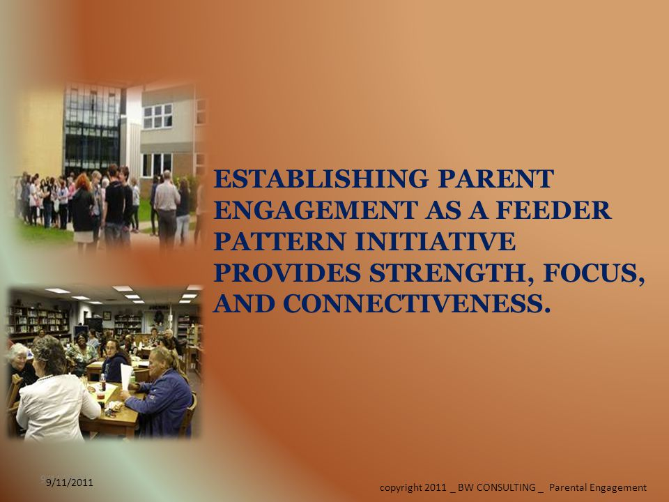 9/11/2011 copyright 2011 _ BW CONSULTING _ Parental Engagement 9/11/2011 ESTABLISHING PARENT ENGAGEMENT AS A FEEDER PATTERN INITIATIVE PROVIDES STRENGTH, FOCUS, AND CONNECTIVENESS.