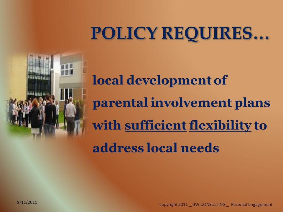 LIAISON 9/11/2011 copyright 2011 _ BW CONSULTING _ Parental Engagement SCHOOL COMPACT (Parent)