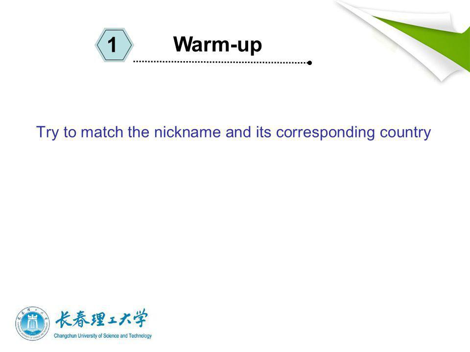 Try to match the nickname and its corresponding country Warm-up 1