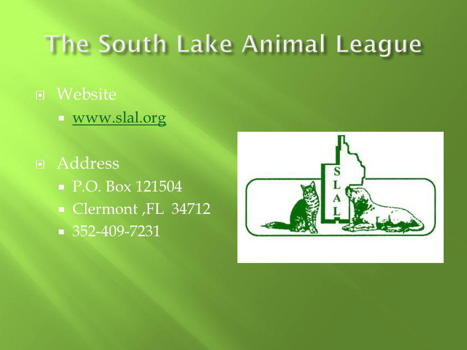 Website www.slal.org Address P.O. Box 121504 Clermont,FL 34712 352-409-7231