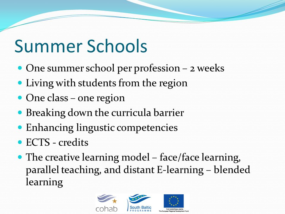 Summer Schools One summer school per profession – 2 weeks Living with students from the region One class – one region Breaking down the curricula barrier Enhancing lingustic competencies ECTS - credits The creative learning model – face/face learning, parallel teaching, and distant E-learning – blended learning