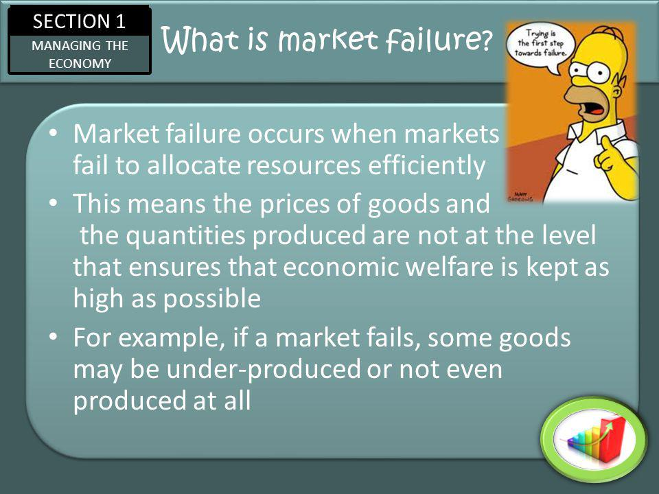 SECTION 1 MANAGING THE ECONOMY What is market failure.