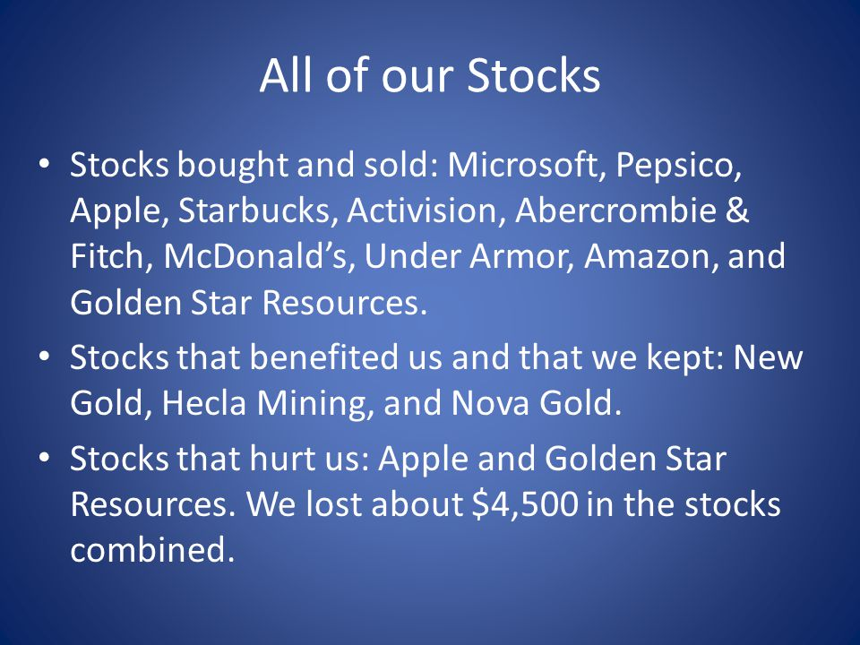 All of our Stocks Stocks bought and sold: Microsoft, Pepsico, Apple, Starbucks, Activision, Abercrombie & Fitch, McDonalds, Under Armor, Amazon, and Golden Star Resources.