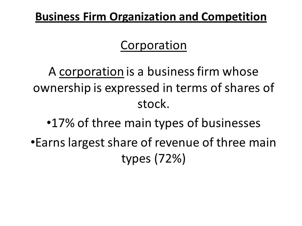 Business Firm Organization and Competition Corporation A corporation is a business firm whose ownership is expressed in terms of shares of stock.