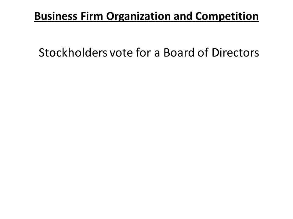 Business Firm Organization and Competition Stockholders vote for a Board of Directors