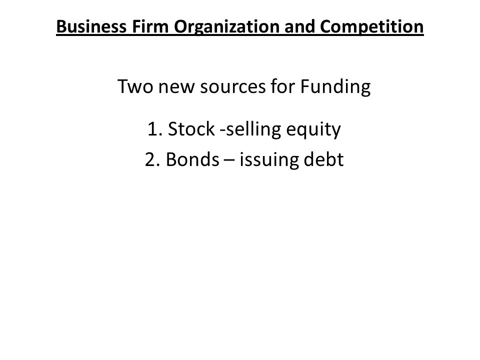 Business Firm Organization and Competition Two new sources for Funding 1.