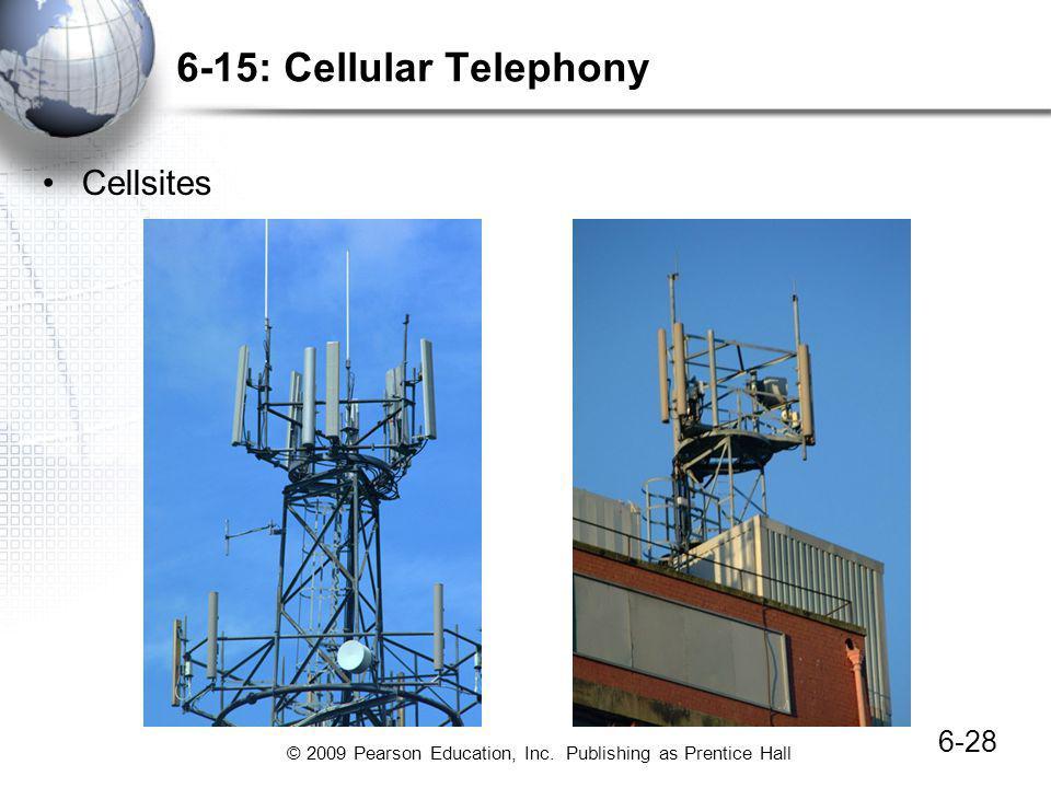 © 2009 Pearson Education, Inc. Publishing as Prentice Hall 6-28 6-15: Cellular Telephony Cellsites