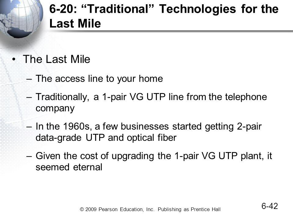 © 2009 Pearson Education, Inc. Publishing as Prentice Hall 6-20: Traditional Technologies for the Last Mile The Last Mile –The access line to your hom