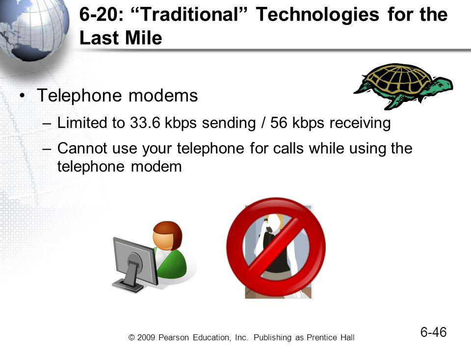 © 2009 Pearson Education, Inc. Publishing as Prentice Hall 6-20: Traditional Technologies for the Last Mile Telephone modems –Limited to 33.6 kbps sen