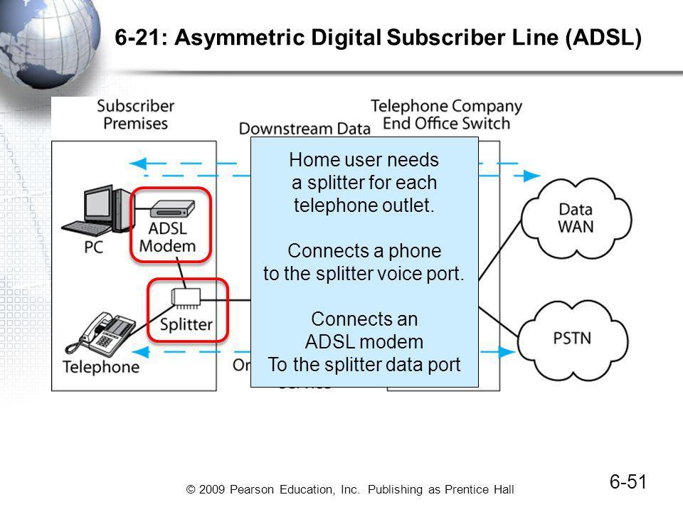 © 2009 Pearson Education, Inc. Publishing as Prentice Hall 6-21: Asymmetric Digital Subscriber Line (ADSL) 6-51 Home user needs a splitter for each te