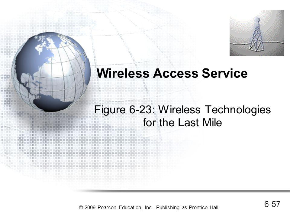 © 2009 Pearson Education, Inc. Publishing as Prentice Hall Wireless Access Service Figure 6-23: Wireless Technologies for the Last Mile 6-57